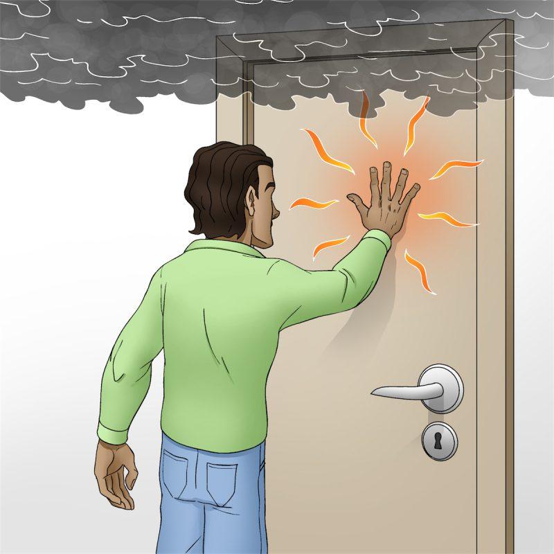 Illustration af mand der rører en varm, lukket dør