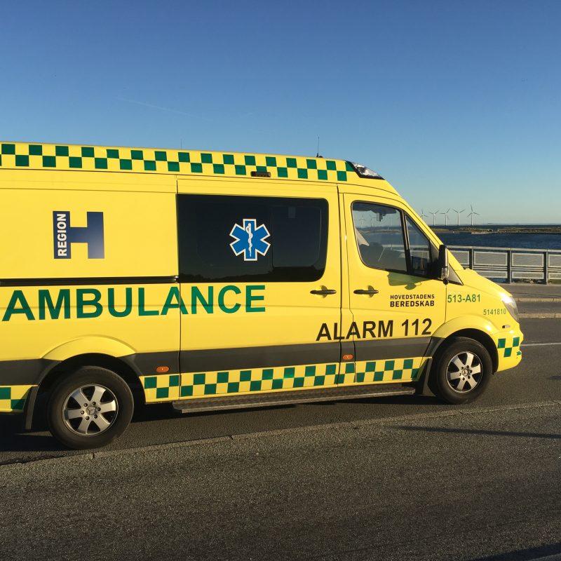 Billede af en af Hovedstadens Beredskabs ambulancer