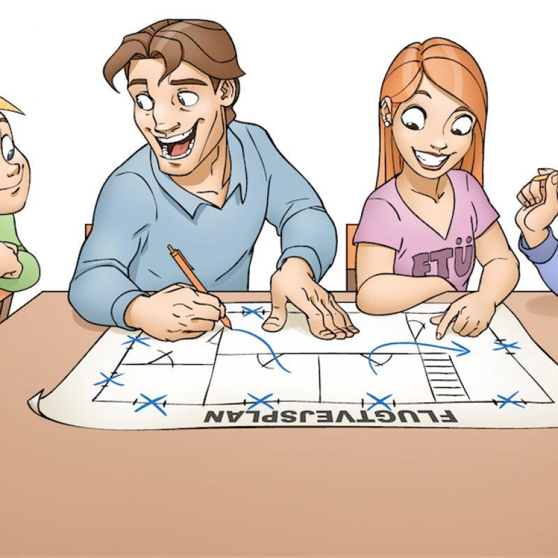 Illustration af en familie der gennemgår familiens flugtvejsplan