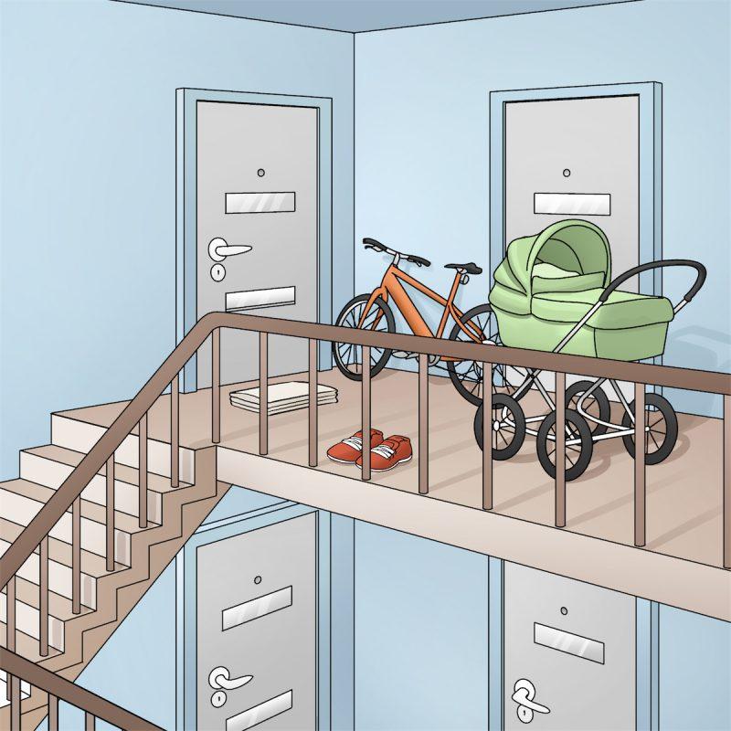 Opgang med cykler og barnevogne. Illustration: Hovedstadens Beredskab