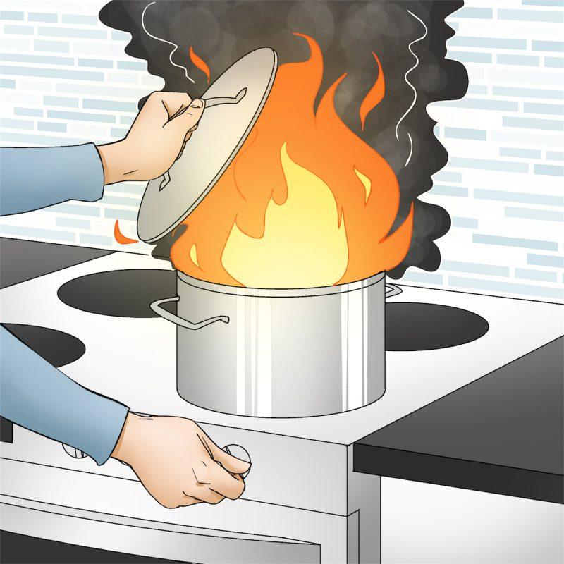 Illustration af en frituregryde med ild i