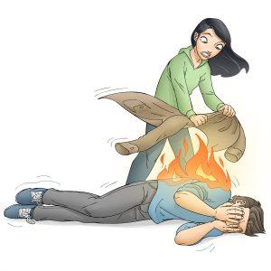 Læg personen ned og kvæl straks ilden med tæppe el.lign. Illustration: Hovedstadens Beredskab