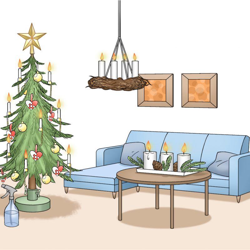 Lejlighed med juledekorationer og juletræ. Illustration: Hovedstadens Beredskab
