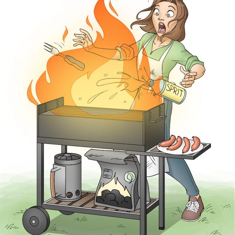 Illustration af ukontrolleret brand på en havegril