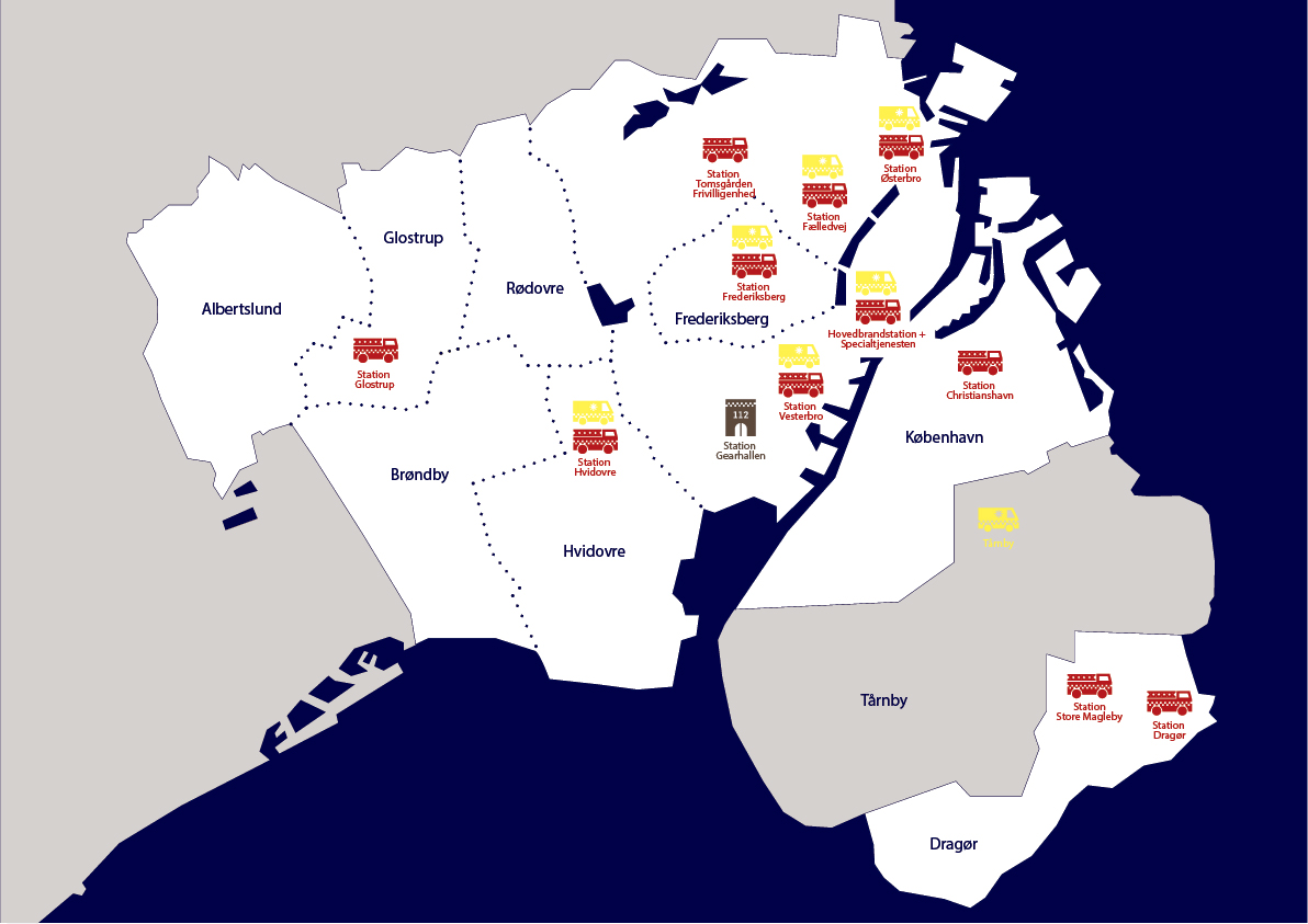 Kort der viser placeringen af Hovedstadens Beredskabs stationer