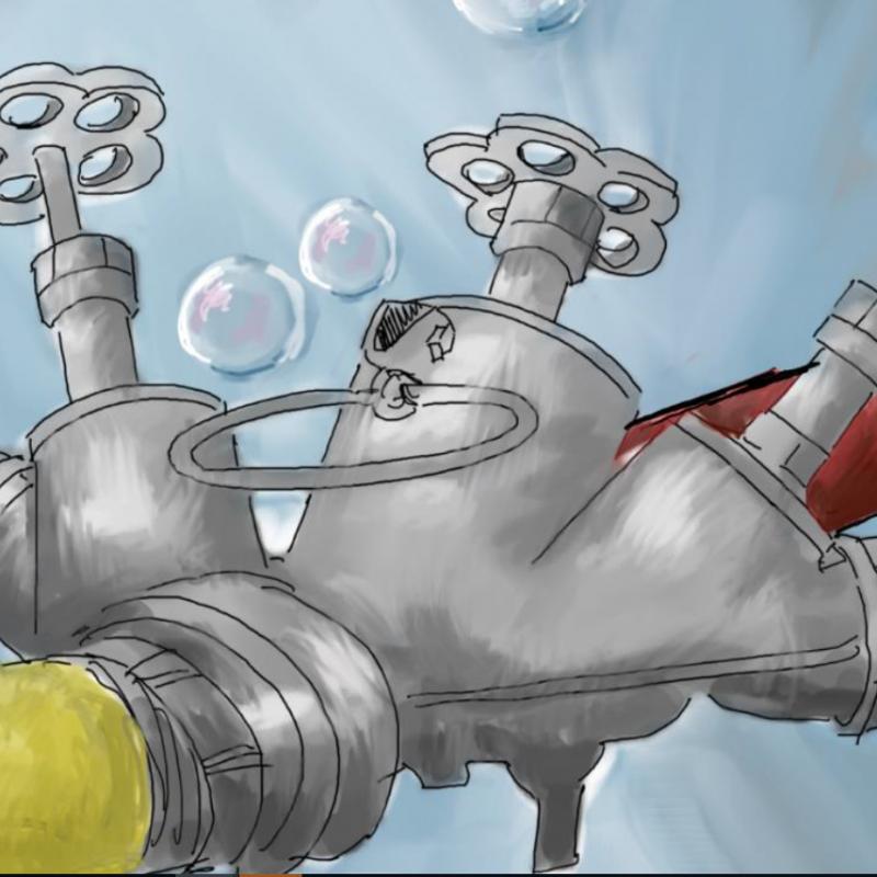 Karikeret tegning af brandslanger der forbindes til hinanden