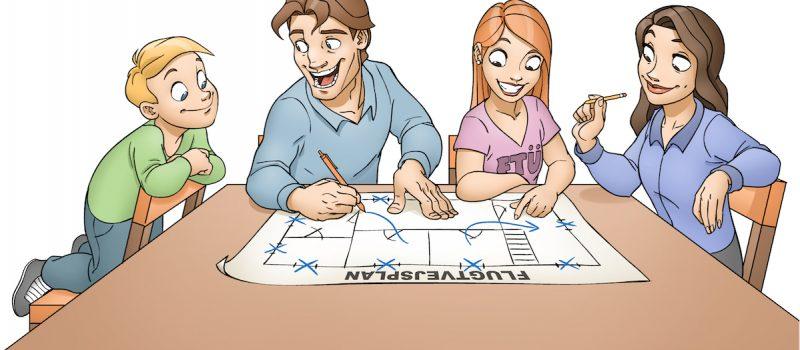 Billede af familie der laver flugtvejsplan - Illustrator-Jesper-Andkjær