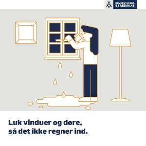 Viser man skal lukke vinduer, for at undgå vandskade.