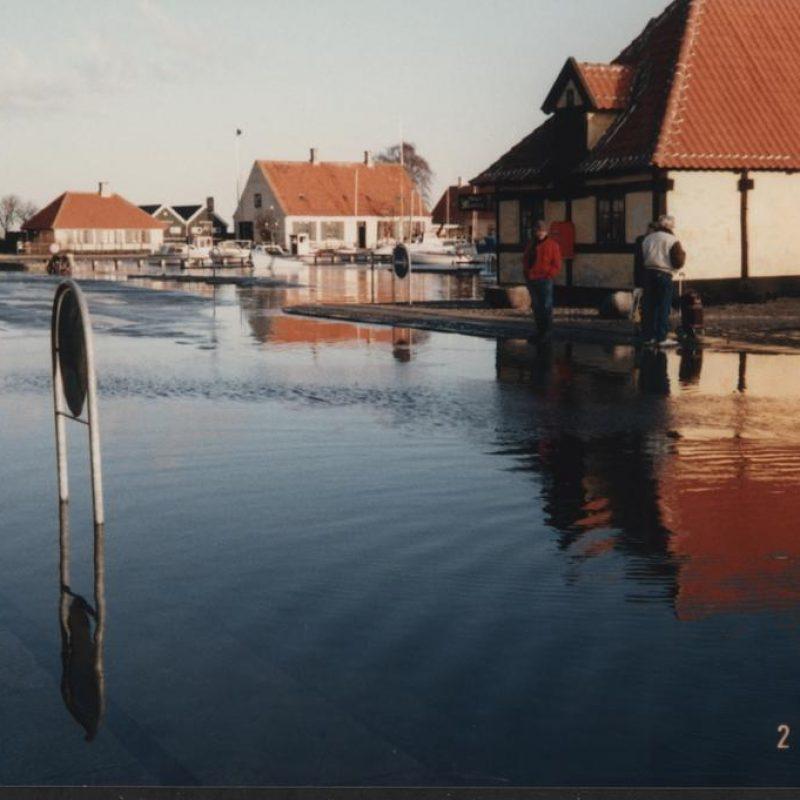 Oversvømmelse på Dragør havn.